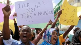 University students join a demonstration condemning the gunmen attack at the Garissa University campus
