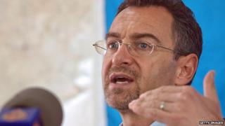 UN humanitarian co-ordinator in South Sudan Toby Lanzer gives a press conference on 4 February 2014 in Juba