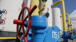 Valves and pipes are seen at a gas compressor station in the village of Boyarka