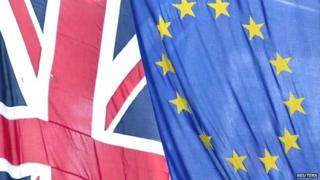 The Union Jack flag next to the European Flag
