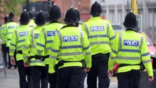 Police officers walking