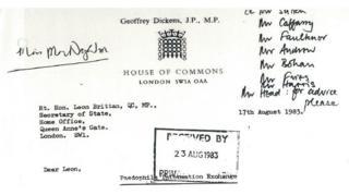 Letter to Leon Brittan