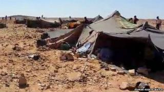 Still from a video by a Syrian showing an informal tent camp just inside the Jordanian border at Hadalat taken in late 2014.