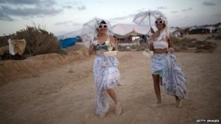 Two women at Burning man festival