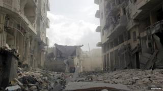 Wreckage in a Syrian city