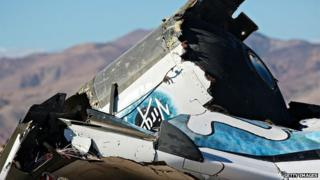 The debris of the crashed Virgin Galactic spaceship in the Mojave Desert from November 2014