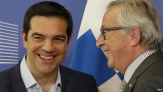 Alexis Tsipras and European Commission chief Jean-Claude Juncker