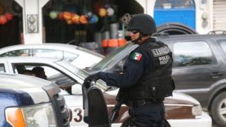 A federal police officer on patrol in Chilapa