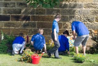 Children at a community garden