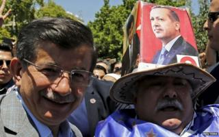 Prime Minister Davutoglu is in the southern city of Kahramanmaras as part of his election campaigning on 5 June.