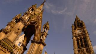 Manchester Town Hall clock tower and the Albert Memorial