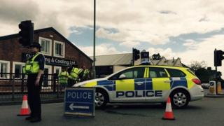 Police car blocking Empire Way