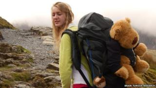 Emma Welch takes part in the Snowdon teddy bear climb