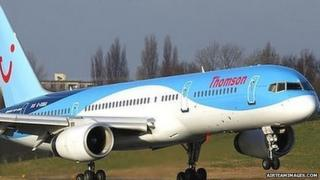 A Boeing 757 airplane operated by Thomson