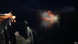 Boat fire in Wareham Channel