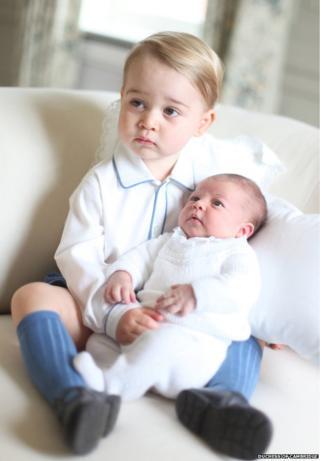 Prince George and his sister Princess Charlotte, 2015