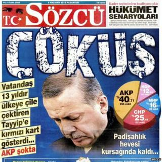 Front page of Turkish newspaper Sozcu