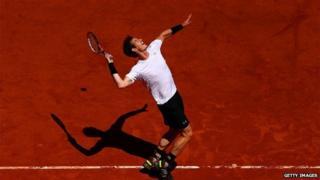 Andy Murray prepares to serve