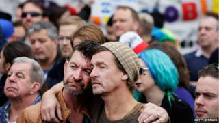 A couple hold each other during a rally at Taylor Square in support of Marriage Equality on May 31, 2015 in Sydney, Australia