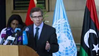 UN special envoy Bernardino Leon at talks in Skhirat, Morocco. File photo