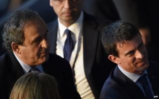 Manuel Valls (R) with Michel Platini