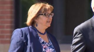 Anne Lakey arrives at court
