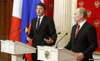 Matteo Renzi (L) with President Putin at the Kremlin in March 2015