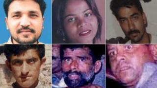 Top L-R Aftab Bahadur, Asia Bibi, Saulat Mirza Right L-R Shafqat Hussain, Two Baloch hijackers
