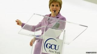 Nicola Sturgeon speaking in New York