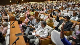 Nepalese lawmakers meet at the national parliament in Kathmandu