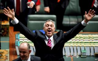 Australian Treasurer Joe Hockey reacts at Parliament House in Canberra on 14 May 2015