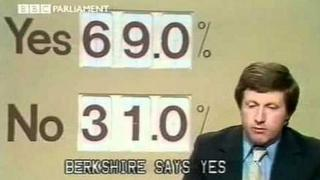 David Dimbleby presenting the BBC's 1975 referendum results programme.