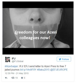 Images such as these in protest of Azerbaijan's human rights record have been widely shared under the hashtag #Baku2015 - originally meant to promote the European Games