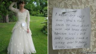 Wedding dress and note