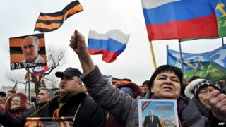 Russian nationalist rally in St Petersburg - file pic
