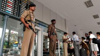 Paramilitary soldiers at Chennai airport