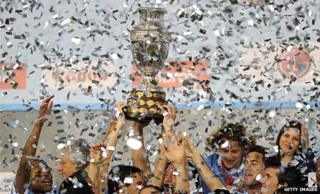 Uruguay winning the Copa America in 2011
