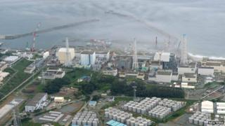 An aerial view of the Fukushima plant