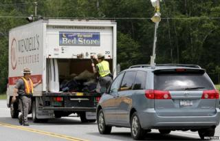 Police search a Vermont truck near the New York border