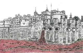Stephen Wiltshire's drawing of the 2014 exhibition of ceramic poppies at the Tower of London