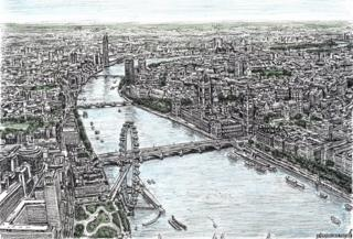 The Houses of Parliament and the London Eye, by Stephen Wiltshire