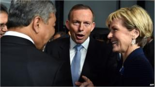 Australia PM Tony Abbott and Foreign Minister Julie Bishop in Sydney (11 June 2015)
