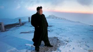 A photo from North Korea's state news agency showing Kim Jong-un atop Mount Paektu
