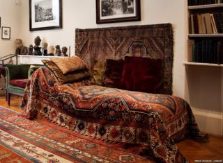 Freud's psychoanalytic couch at the Freud Museum in London