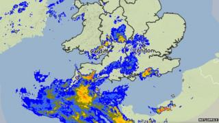 Radar rain map at 14:15 on Friday 12 June