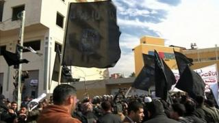 Islamic State flags at a rally in Gaza (file photo)