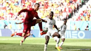 Cristiano Ronaldo of Portugal in action during the 2014 FIFA World Cup Brazil Group G match between Portugal v Ghana
