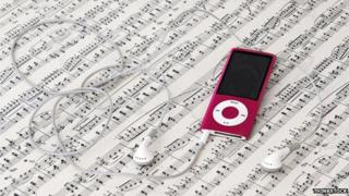 Sheet music and MP3 player