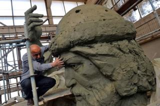 Russian artist Salavat Shcherbakov with a model for the monument of Grand Prince of Kiev, Vladimir the Great