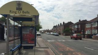 A bus stop in Bewsey in Warrington.